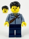 Minifig No: hol226  Name: Man, Sand Blue Jacket and Reddish Brown Satchel, Dark Blue Legs, Black Hair