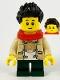 Minifig No: hol230  Name: Child Boy, Monkie Kid Shirt, Red Scarf, Dark Green Short Legs, Black Hair