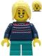 Minifig No: hol238  Name: Girl - Dark Blue Knit Sweater, Dark Turquoise Short Legs, Bright Light Yellow Hair