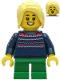 Minifig No: hol238a  Name: Girl - Dark Blue Knit Sweater, Green Short Legs, Bright Light Yellow Hair