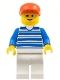Minifig No: hor003  Name: Horizontal Lines Blue - Blue Arms - White Legs, Red Cap