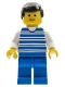 Minifig No: hor004  Name: Horizontal Lines Blue - White Arms - Blue Legs, Black Male Hair, White Arms