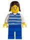 Minifig No: hor007  Name: Horizontal Lines Blue - White Arms - Blue Legs, Brown Female Hair