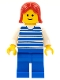 Minifig No: hor010  Name: Horizontal Lines Blue - White Arms - Blue Legs, Red Female Hair