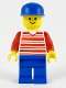 Minifig No: hor025  Name: Horizontal Lines Red - Red Arms - Blue Legs, Blue Cap