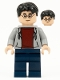 Minifig No: hp213  Name: Harry Potter, Light Bluish Gray Hooded Sweatshirt