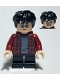 Minifig No: hp233  Name: Harry Potter, Dark Red Plaid Flannel Shirt, Black Short Legs