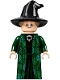 Minifig No: hp274  Name: Professor Minerva McGonagall, Dark Green Robe and Cape, Hat with Hair