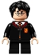Minifig No: hp281  Name: Harry Potter, Gryffindor Robe, Sweater, Shirt and Tie, Black Short Legs