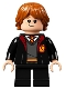 Minifig No: hp283  Name: Ron Weasley, Gryffindor Robe, Sweater, Shirt and Tie, Black Short Legs
