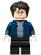 Minifig No: hp288  Name: Harry Potter, Dark Blue Open Jacket, Black Medium Legs