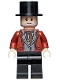 Minifig No: hp301  Name: Wizard - HP Wizarding World Male, Black Top Hat, Dark Red Suit, Black Legs