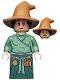 Minifig No: hp302  Name: Wizard - HP Wizarding World Female, Medium Nougat Hat, Sand Green Top, Dark Green Skirt