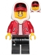 Minifig No: hs001  Name: Jack Davids - Red Jacket with Cap and Hood (Large Smile / Grumpy)