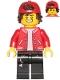 Minifig No: hs067  Name: Jack Davids - Red Jacket with Backwards Cap (Large Smile / Grumpy)