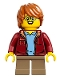 Minifig No: idea055  Name: Boy, Glasses, Dark Red Jacket, Dark Orange Hair Tousled with Side Part