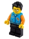 Minifig No: idea080  Name: Man, Dark Azure Letter Jacket, Black Legs, Black Hair