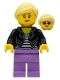 Minifig No: idea081  Name: Woman, Black Leather Jacket, Medium Lavender Legs, Bright Light Yellow Hair