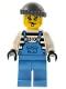 Minifig No: ixs014  Name: Xtreme Stunts Brickster Henchman with Medium Blue Overalls #1, Dark Bluish Gray Knit Cap