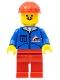 Minifig No: jbl003  Name: Bulldozer Logo - Red Legs, Red Construction Helmet