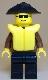 Minifig No: jbr014  Name: Jacket Brown - Black Legs, Black Wide Brim Hat, Life Jacket