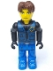 Minifig No: js013  Name: Jack Stone - Black Jacket, Blue Legs, Blue Vest