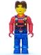 Minifig No: js015  Name: Jack Stone - Red Jacket, Blue Overalls and Blue Legs