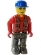 Minifig No: js017  Name: Bank Robber with Dark Gray Legs, Red Shirt and Blue Cap