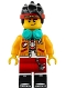 Minifig No: mk001  Name: Monkie Kid - Bright Light Orange Jacket, Headphones (Smirk / Angry)