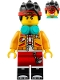 Minifig No: mk019  Name: Monkie Kid - Bright Light Orange Jacket, Headphones (Neutral / Angry with Red Splotch)
