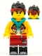 Minifig No: mk028  Name: Monkie Kid - Bright Light Orange Jacket, Dark Turquoise Hood (Angry / Smile with Red Mask)