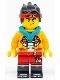 Minifig No: mk038  Name: Monkie Kid - Bright Light Orange Jacket, Dark Turquoise Hood (Smirk / Angry)