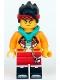 Minifig No: mk041  Name: Monkie Kid - Bright Light Orange Jacket, Dark Turquoise Hood (Golden Eyes)
