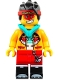 Minifig No: mk047  Name: Monkie Kid - Bright Light Orange Jacket, Dark Turquoise Hood (Neutral / Angry with Red Splotch)