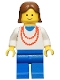 Minifig No: ncklc001  Name: Necklace Red - Blue Legs, Brown Female Hair