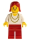 Minifig No: ncklc003  Name: Necklace Gold - Red Legs, Red Female Hair