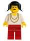Minifig No: ncklc004  Name: Necklace Gold - Red Legs, Black Pigtails Hair