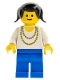 Minifig No: ncklc009  Name: Necklace Gold - Blue Legs, Black Pigtails Hair