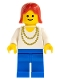 Minifig No: ncklc010  Name: Necklace Gold - Blue Legs, Red Female Hair