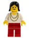 Minifig No: ncklc012  Name: Necklace Gold - Red Legs, Black Female Hair