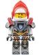 Minifig No: nex076  Name: Lance - Trans-Neon Orange Visor, Flat Silver Armor