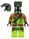 Minifig No: njo217  Name: Zoltar - Serpentine Snake Warrior, Lime with Scales, Dark Orange Armor Coverings, Dark Green Strap with Red Vial