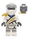 Minifig No: njo670  Name: Zane - Legacy, Pearl Gold Armor Shoulder Pad, Flat Silver Head