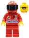 Minifig No: oct029  Name: Octan - Racing, Red Legs, Red Helmet 7 White Stars, Black Visor