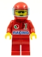 Minifig No: oct030  Name: Octan - Racing, Red Legs, Red Helmet, Trans-Light Blue Visor
