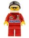 Minifig No: oct031  Name: Octan - Racing, Red Legs, White Helmet, Black Visor