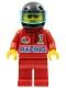 Minifig No: oct032  Name: Octan - Racing, Red Legs, Black Helmet, Trans-Light Blue Visor