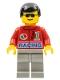 Minifig No: oct035  Name: Octan - Racing, Light Gray Legs, Black Male Hair