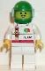 Minifig No: oct044  Name: Octan - Race Team, White Legs, Green Helmet, Trans-Light Blue Visor
