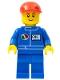 Minifig No: oct055a  Name: Octan - Blue Oil, Blue Legs, Red Short Bill Cap, Black Eyebrows